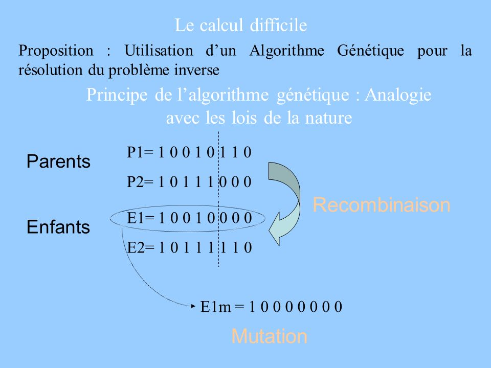 Le calcul difficile Proposition : Utilisation dun Algorithme Génétique pour la résolution du problème inverse Principe de lalgorithme génétique : Anal