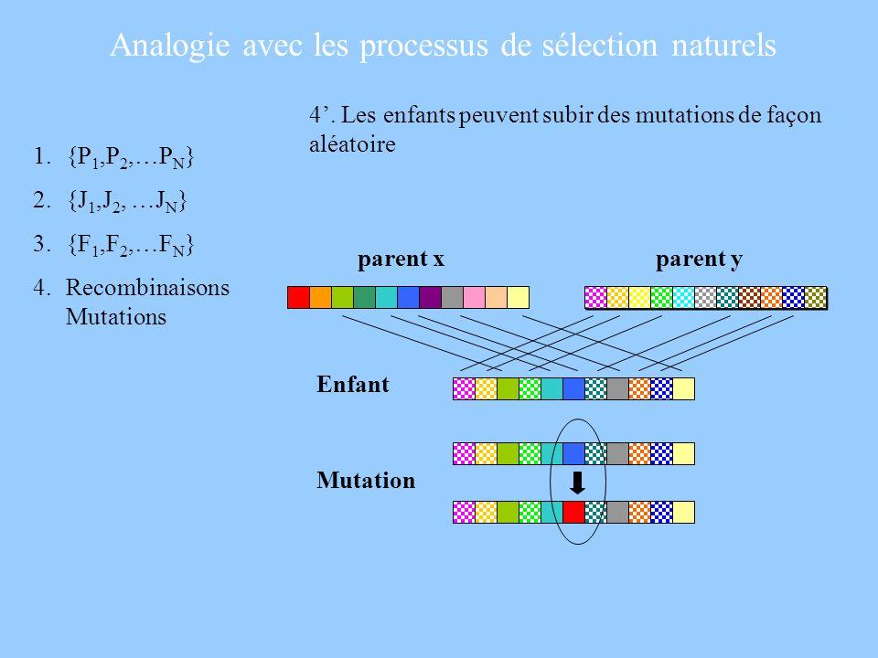 4. Les enfants peuvent subir des mutations de façon aléatoire 1.{P 1,P 2,…P N } 2.{J 1,J 2, …J N } 3.{F 1,F 2,…F N } 4.Recombinaisons Mutations Analog