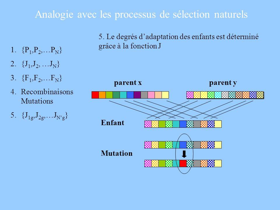 5. Le degrés dadaptation des enfants est déterminé grâce à la fonction J 1.{P 1,P 2,…P N } 2.{J 1,J 2, …J N } 3.{F 1,F 2,…F N } 4.Recombinaisons Mutat