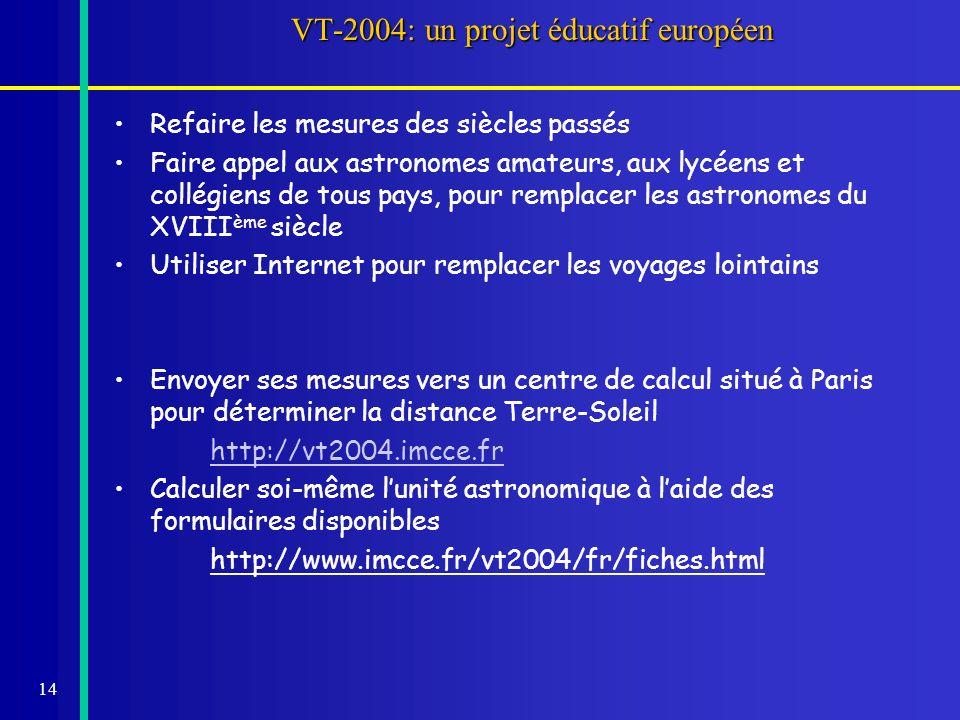 14 VT-2004: un projet éducatif européen Refaire les mesures des siècles passés Faire appel aux astronomes amateurs, aux lycéens et collégiens de tous