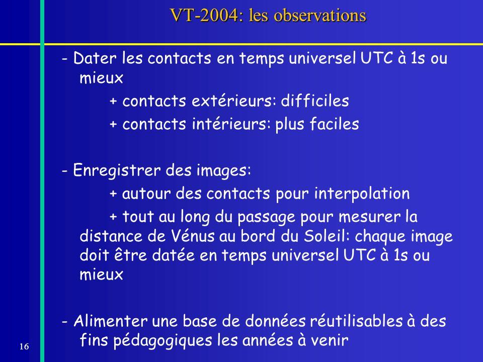 16 VT-2004: les observations - Dater les contacts en temps universel UTC à 1s ou mieux + contacts extérieurs: difficiles + contacts intérieurs: plus f