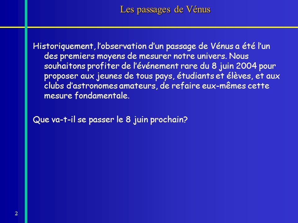 2 Les passages de Vénus Historiquement, lobservation dun passage de Vénus a été lun des premiers moyens de mesurer notre univers. Nous souhaitons prof