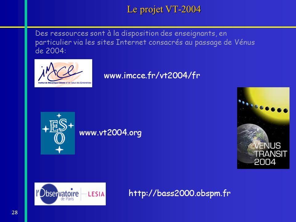 28 Le projet VT-2004 Des ressources sont à la disposition des enseignants, en particulier via les sites Internet consacrés au passage de Vénus de 2004