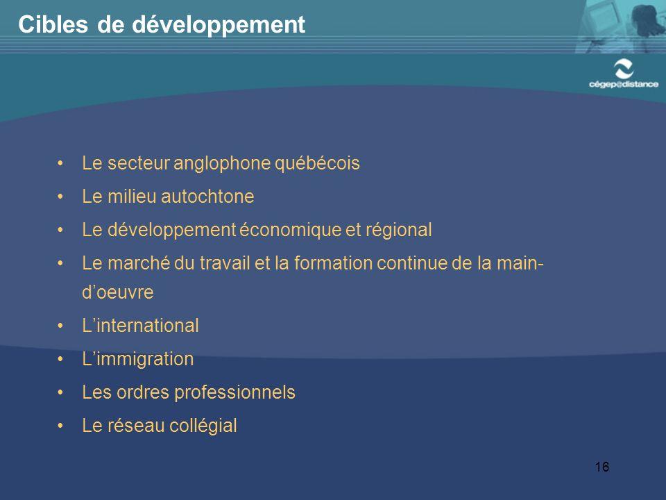 16 Cibles de développement Le secteur anglophone québécois Le milieu autochtone Le développement économique et régional Le marché du travail et la formation continue de la main- doeuvre Linternational Limmigration Les ordres professionnels Le réseau collégial
