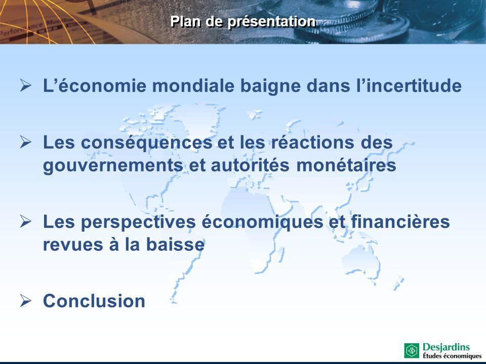 Économie mondiale Plans daustérité annoncés en zone euro Sources : Le Monde et Desjardins, Études économiques France 12 G (2011-2012) Taxe de 3 % sur hauts revenus, coupe de 10 % sur niches fiscales, hausse du prix du tabac, etc.