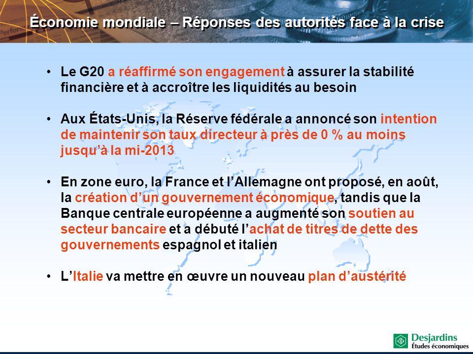 Économie mondiale – Réponses des autorités face à la crise Le G20 a réaffirmé son engagement à assurer la stabilité financière et à accroître les liqu