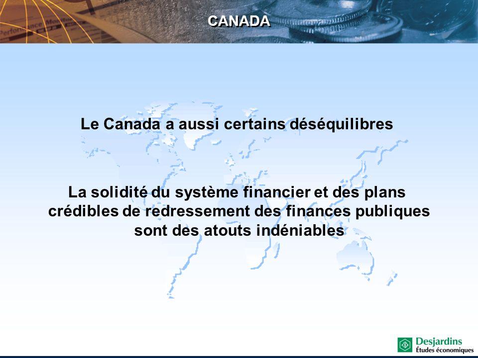 CANADA Le Canada a aussi certains déséquilibres La solidité du système financier et des plans crédibles de redressement des finances publiques sont de