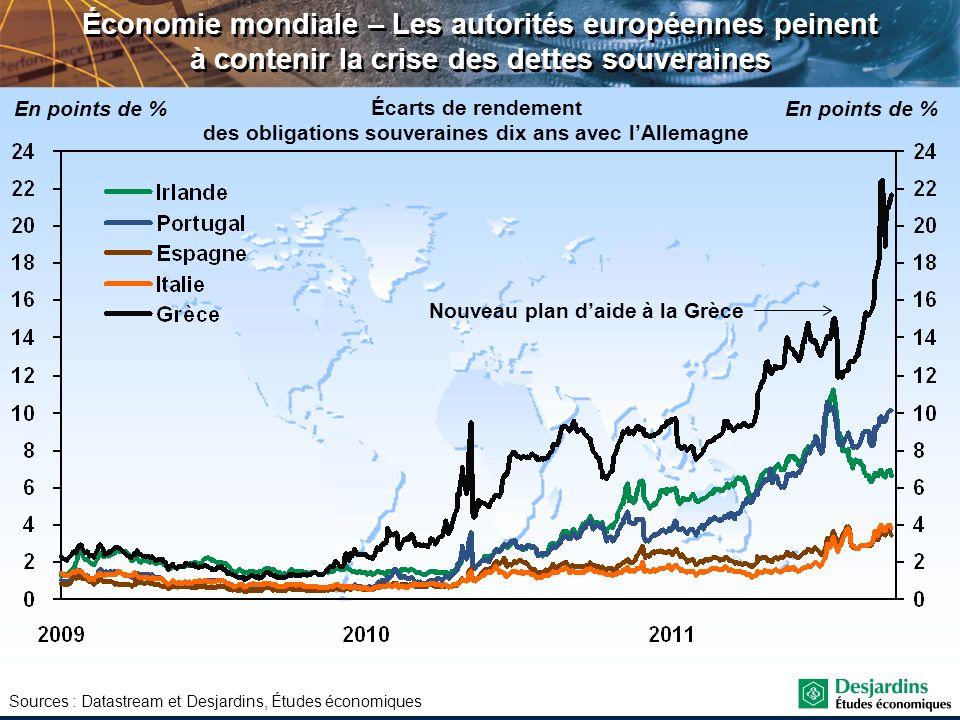 Sources : Datastream et Desjardins, Études économiques Économie mondiale – Les autorités européennes peinent à contenir la crise des dettes souveraine
