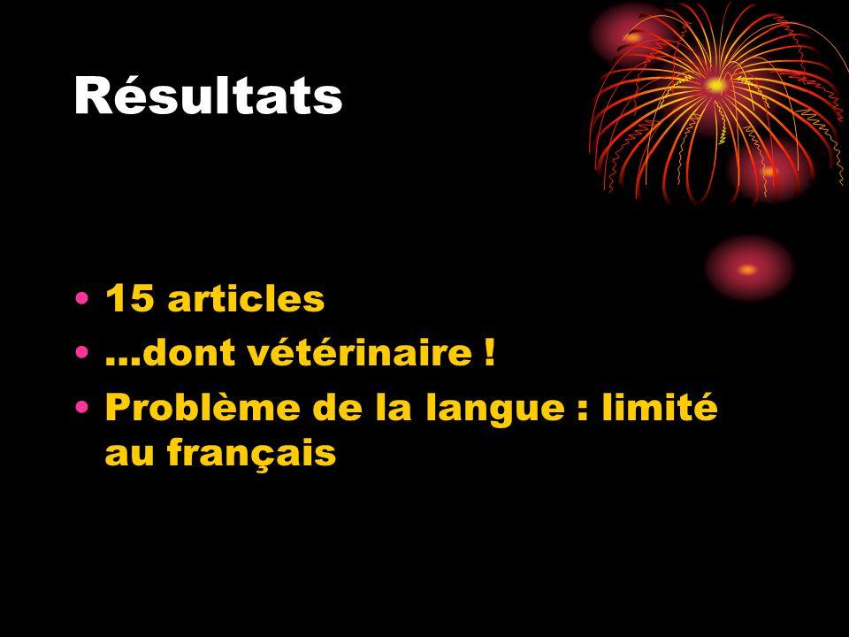 Résultats 15 articles …dont vétérinaire ! Problème de la langue : limité au français