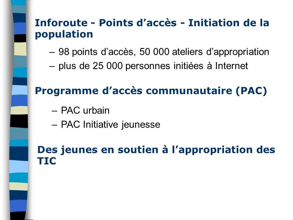 Inforoute - Points daccès - Initiation de la population –98 points daccès, 50 000 ateliers dappropriation –plus de 25 000 personnes initiées à Interne