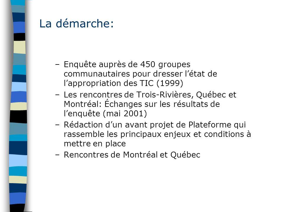 –Enquête auprès de 450 groupes communautaires pour dresser létat de lappropriation des TIC (1999) –Les rencontres de Trois-Rivières, Québec et Montréa