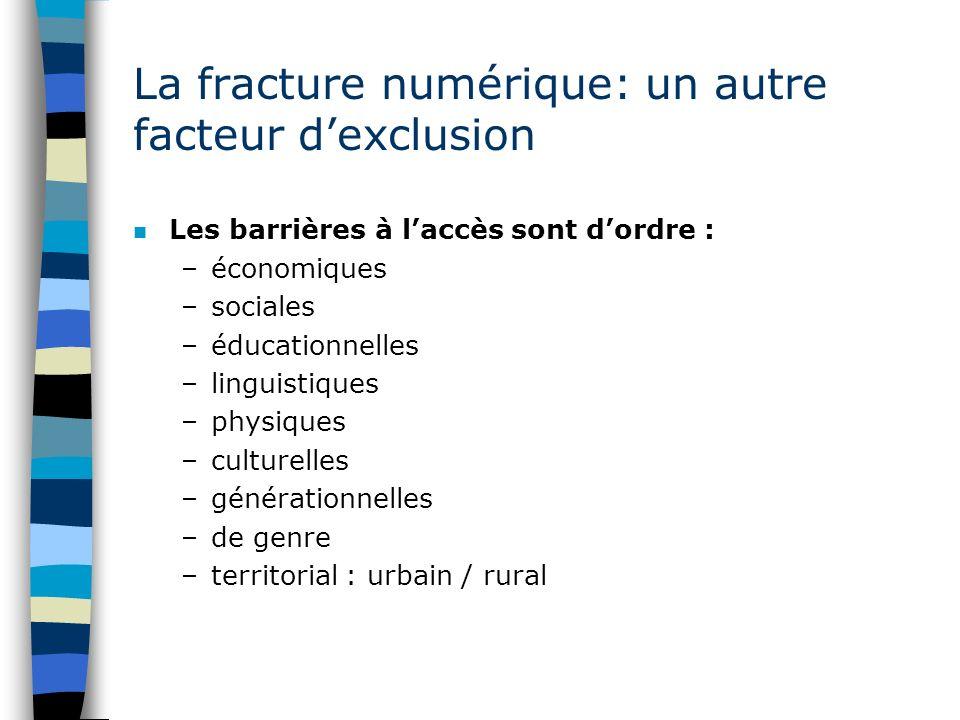 La fracture numérique: un autre facteur dexclusion n Les barrières à laccès sont dordre : –économiques –sociales –éducationnelles –linguistiques –phys