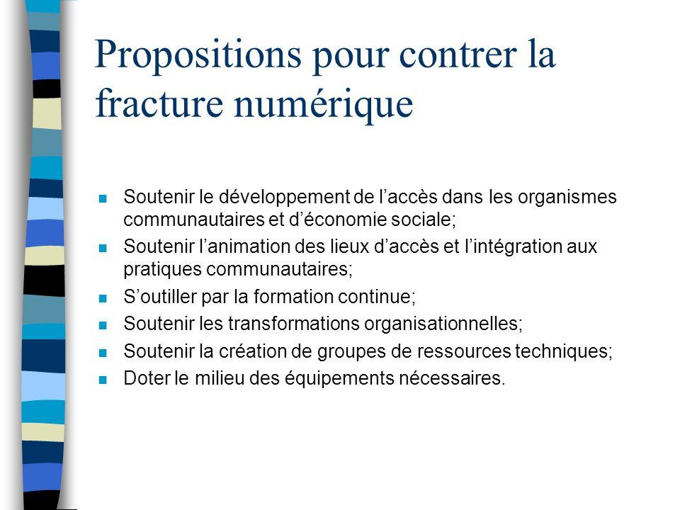 Propositions pour contrer la fracture numérique n Soutenir le développement de laccès dans les organismes communautaires et déconomie sociale; n Soute