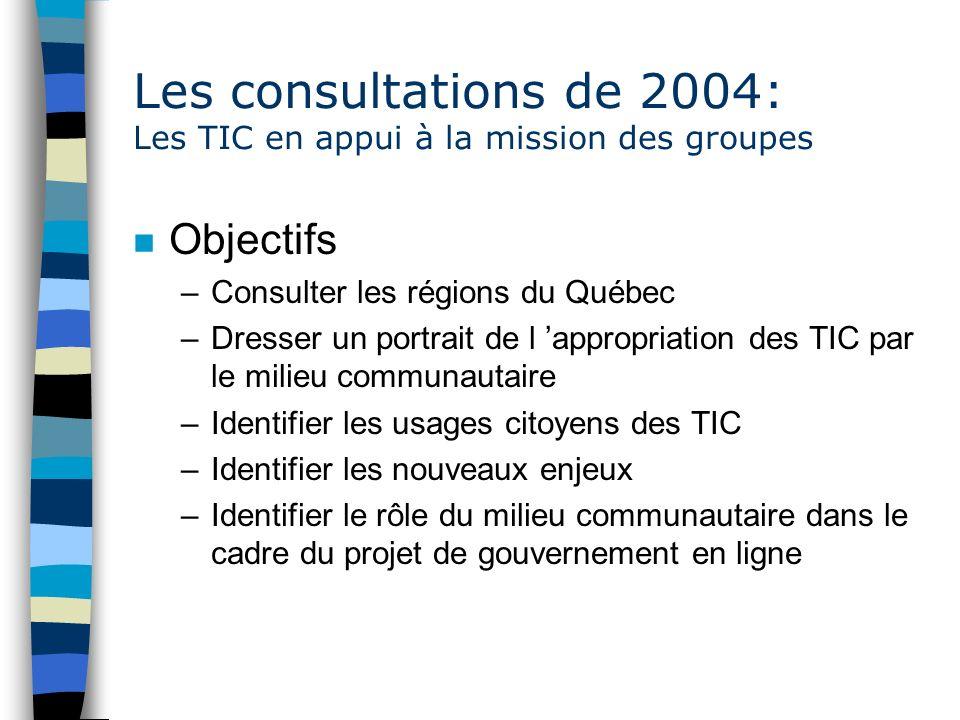 Les consultations de 2004: Les TIC en appui à la mission des groupes n Objectifs –Consulter les régions du Québec –Dresser un portrait de l appropriation des TIC par le milieu communautaire –Identifier les usages citoyens des TIC –Identifier les nouveaux enjeux –Identifier le rôle du milieu communautaire dans le cadre du projet de gouvernement en ligne