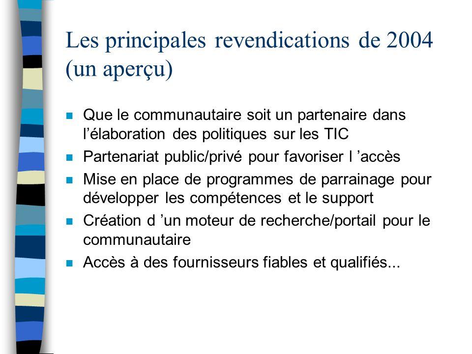 Les principales revendications de 2004 (un aperçu) n Que le communautaire soit un partenaire dans lélaboration des politiques sur les TIC n Partenaria