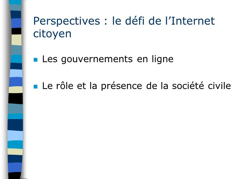 Perspectives : le défi de lInternet citoyen n Les gouvernements en ligne n Le rôle et la présence de la société civile