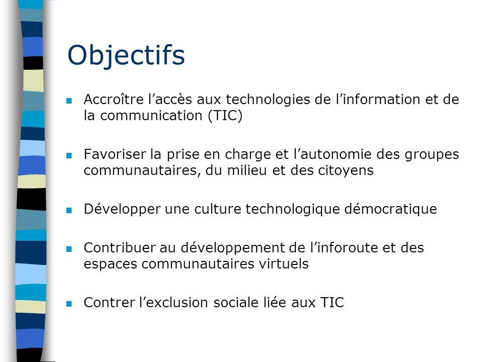 Objectifs n Accroître laccès aux technologies de linformation et de la communication (TIC) n Favoriser la prise en charge et lautonomie des groupes co