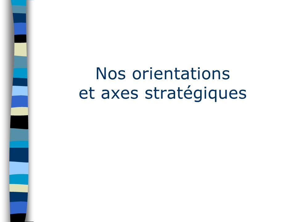 Nos orientations et axes stratégiques