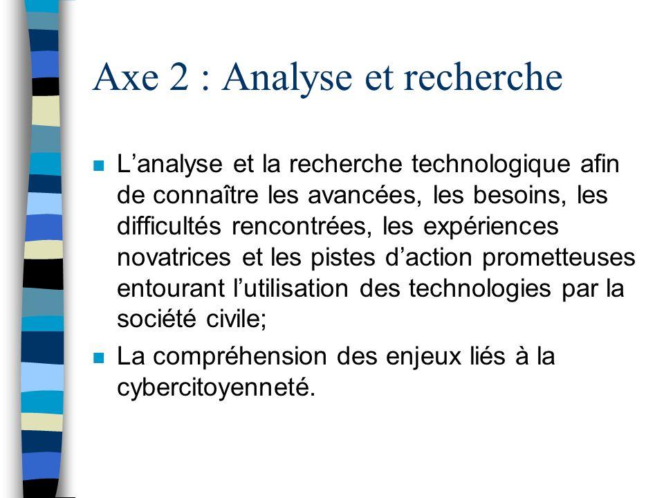 Axe 2 : Analyse et recherche n Lanalyse et la recherche technologique afin de connaître les avancées, les besoins, les difficultés rencontrées, les ex