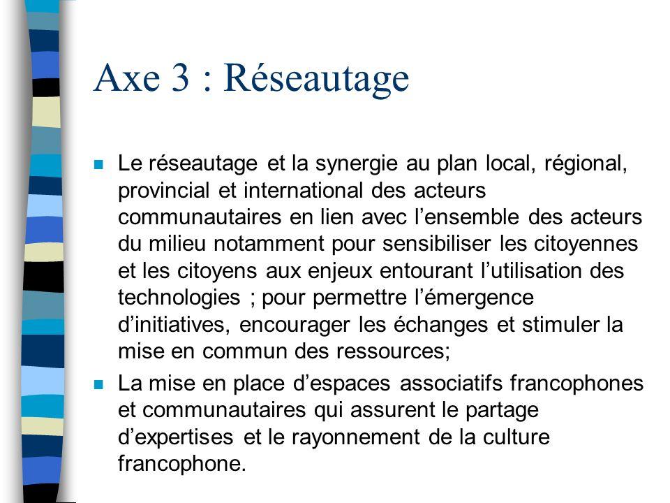Axe 3 : Réseautage n Le réseautage et la synergie au plan local, régional, provincial et international des acteurs communautaires en lien avec lensemb