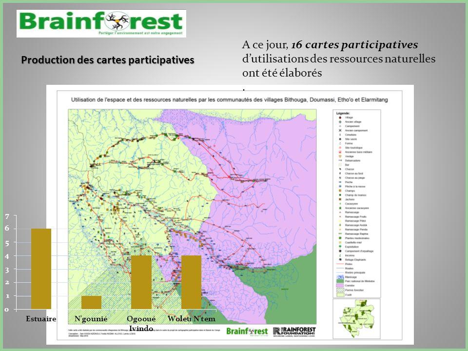 Production des cartes participatives A ce jour, 16 cartes participatives dutilisations des ressources naturelles ont été élaborés.