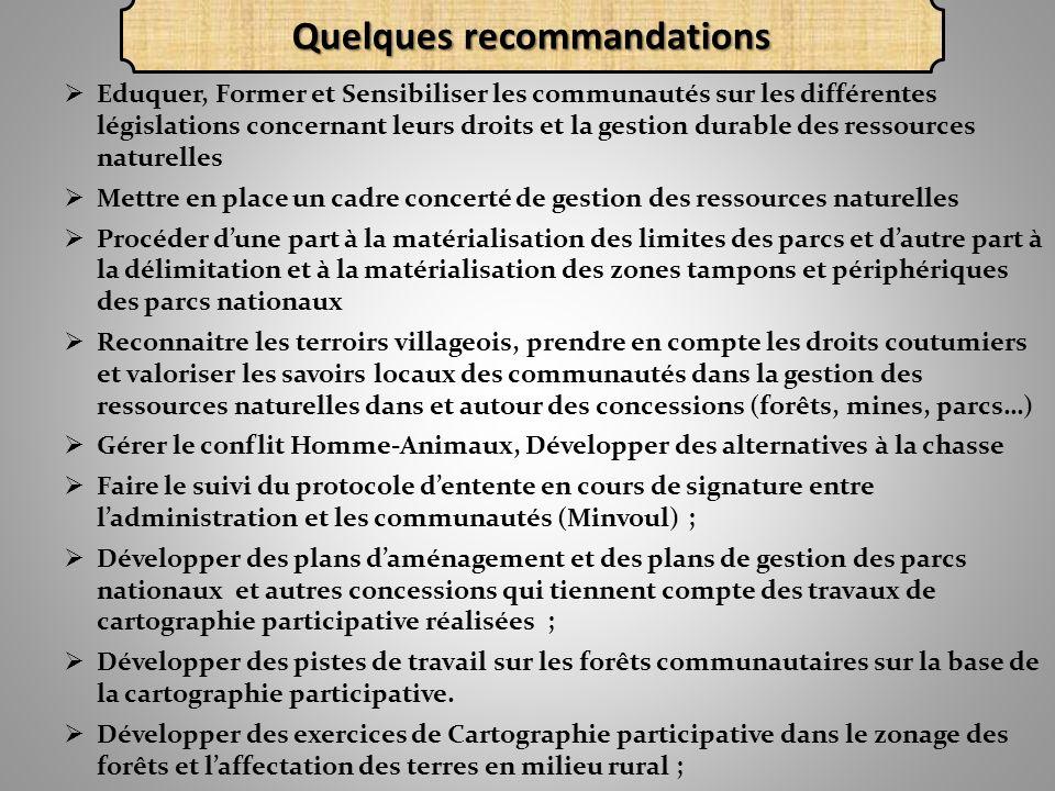 Eduquer, Former et Sensibiliser les communautés sur les différentes législations concernant leurs droits et la gestion durable des ressources naturell