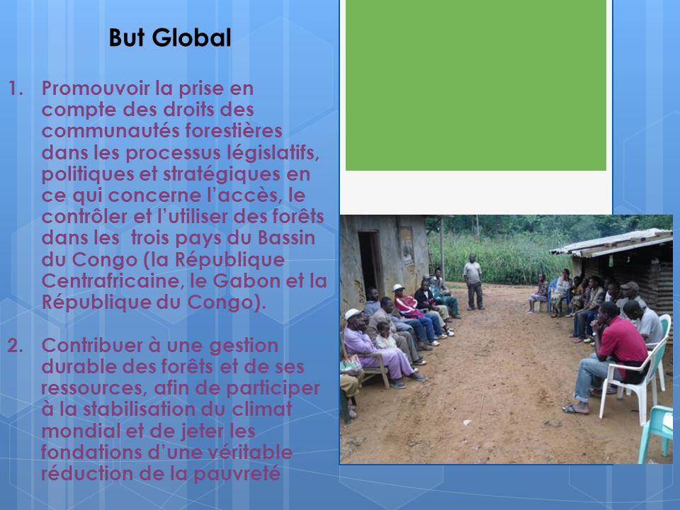 But Global 1.Promouvoir la prise en compte des droits des communautés forestières dans les processus législatifs, politiques et stratégiques en ce qui