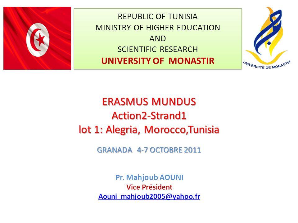 REPUBLIC OF TUNISIA MINISTRY OF HIGHER EDUCATION AND SCIENTIFIC RESEARCH UNIVERSITY OF MONASTIR Pr. Mahjoub AOUNI Vice Président Aouni_mahjoub2005@yah