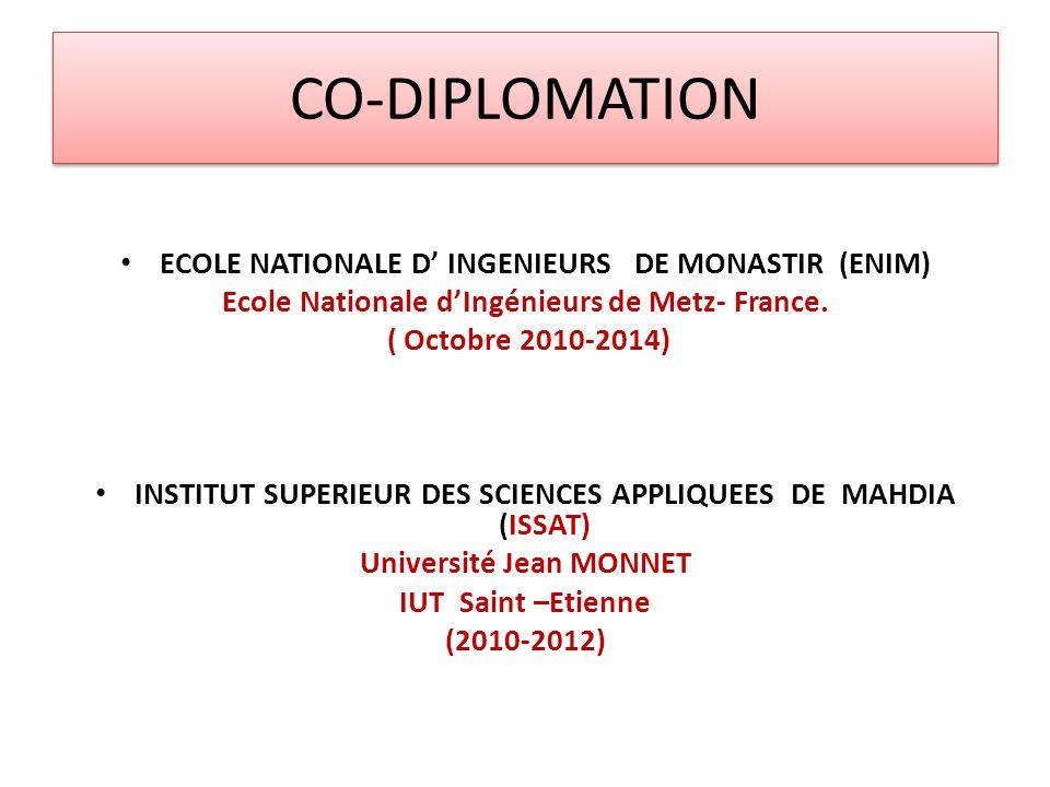 CO-DIPLOMATION ECOLE NATIONALE D INGENIEURS DE MONASTIR (ENIM) Ecole Nationale dIngénieurs de Metz- France. ( Octobre 2010-2014) INSTITUT SUPERIEUR DE