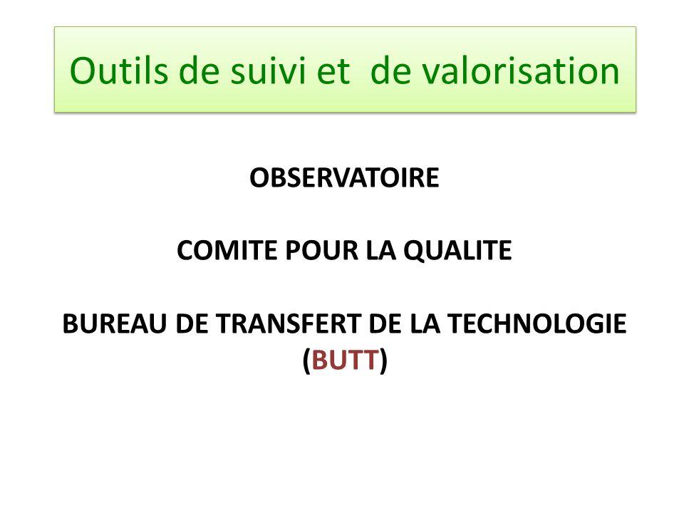 OBSERVATOIRE COMITE POUR LA QUALITE BUREAU DE TRANSFERT DE LA TECHNOLOGIE (BUTT) Outils de suivi et de valorisation