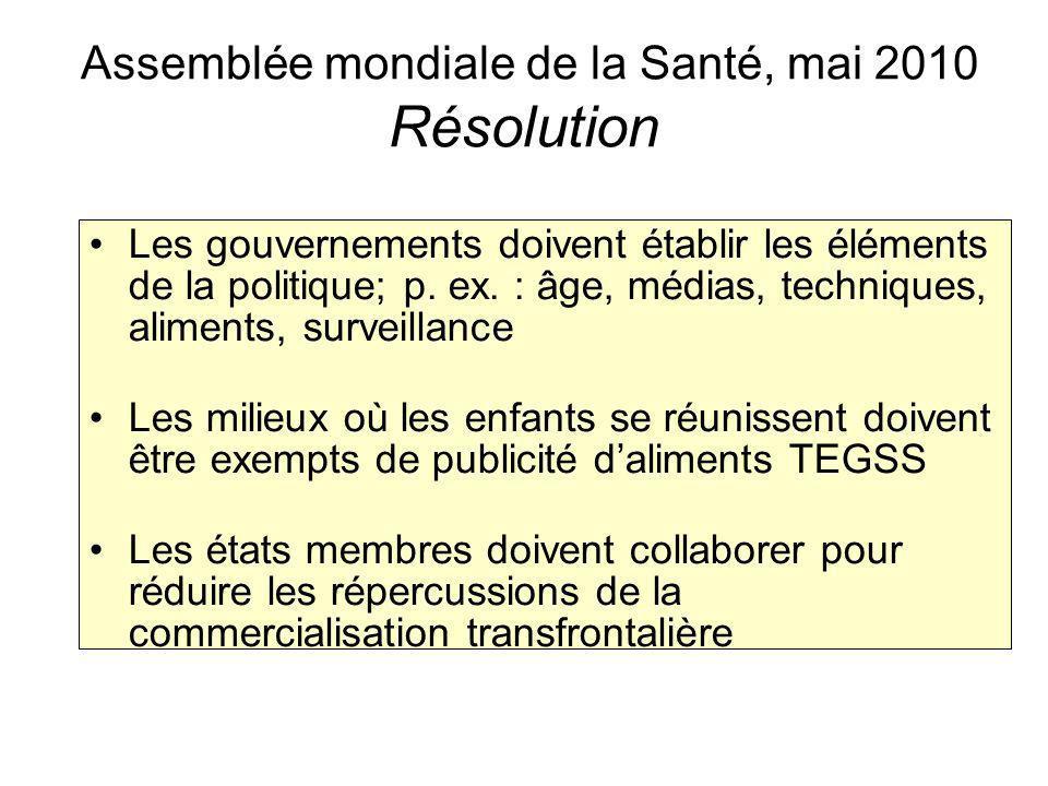 Assemblée mondiale de la Santé, mai 2010 Résolution Les gouvernements doivent établir les éléments de la politique; p.
