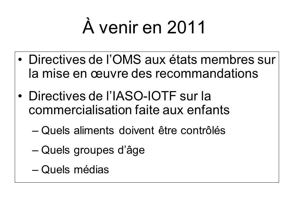 À venir en 2011 Directives de lOMS aux états membres sur la mise en œuvre des recommandations Directives de lIASO-IOTF sur la commercialisation faite aux enfants –Quels aliments doivent être contrôlés –Quels groupes dâge –Quels médias