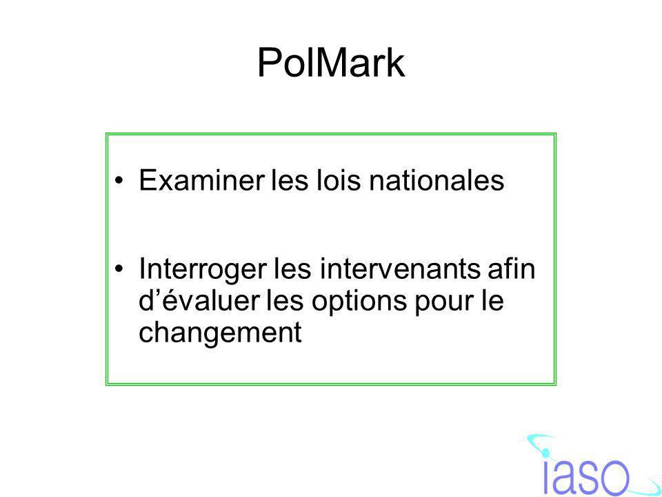 PolMark Examiner les lois nationales Interroger les intervenants afin dévaluer les options pour le changement