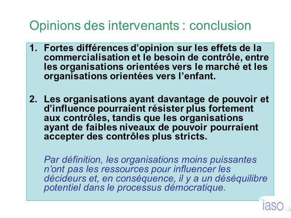 1.Fortes différences dopinion sur les effets de la commercialisation et le besoin de contrôle, entre les organisations orientées vers le marché et les organisations orientées vers lenfant.