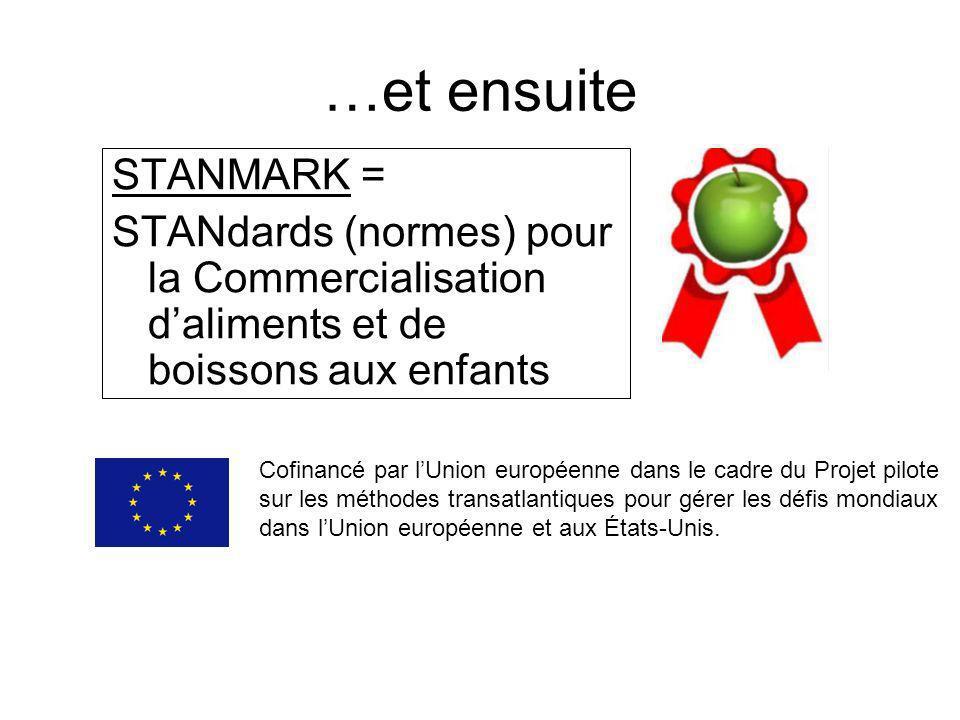 STANMARK = STANdards (normes) pour la Commercialisation daliments et de boissons aux enfants …et ensuite Cofinancé par lUnion européenne dans le cadre du Projet pilote sur les méthodes transatlantiques pour gérer les défis mondiaux dans lUnion européenne et aux États-Unis.