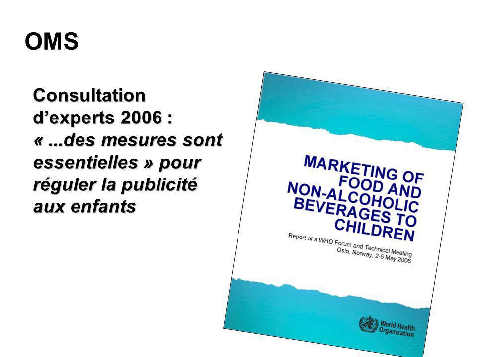OMS Consultation dexperts 2006 : «...des mesures sont essentielles » pour réguler la publicité aux enfants