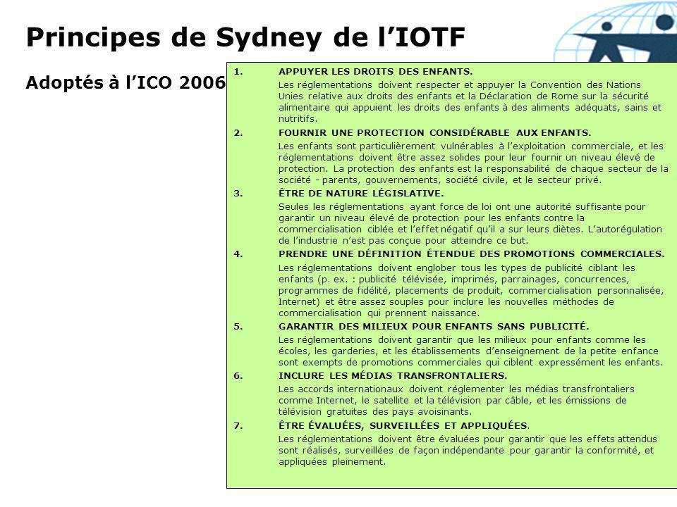 Engagements internationaux en 2007 par les entreprises daliments et de boissons Coca-Cola, PepsiCo, Kelloggs, etc.