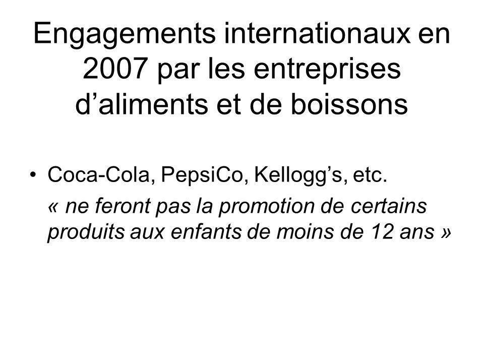 Engagements internationaux en 2007 par les entreprises daliments et de boissons Coca-Cola, PepsiCo, Kelloggs, etc. « ne feront pas la promotion de cer