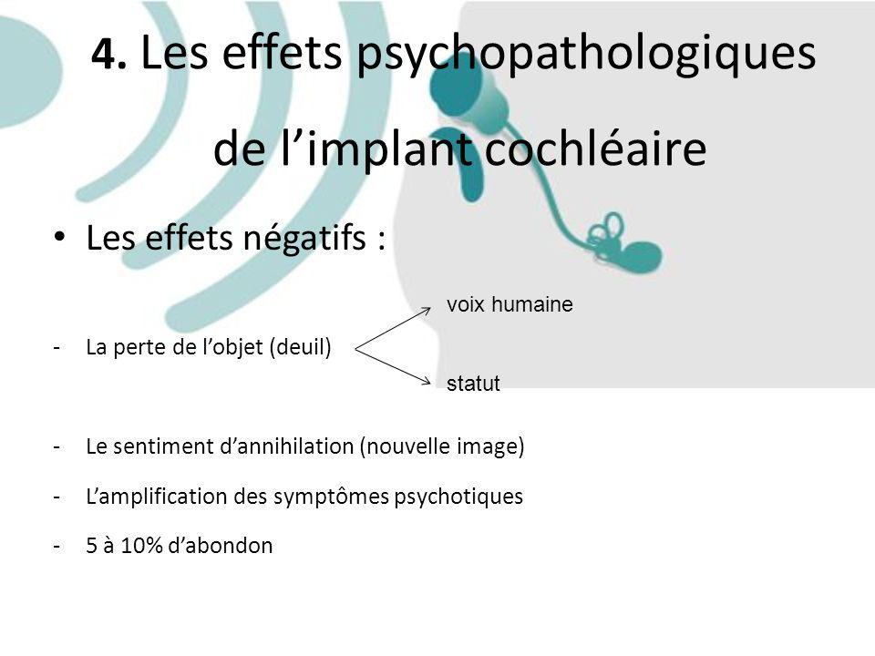 4. Les effets psychopathologiques de limplant cochléaire Les effets négatifs : -La perte de lobjet (deuil) -Le sentiment dannihilation (nouvelle image