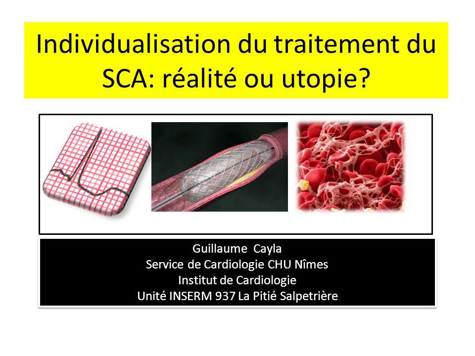 Individualisation du traitement du SCA: réalité ou utopie? Guillaume Cayla Service de Cardiologie CHU Nîmes Institut de Cardiologie Unité INSERM 937 L