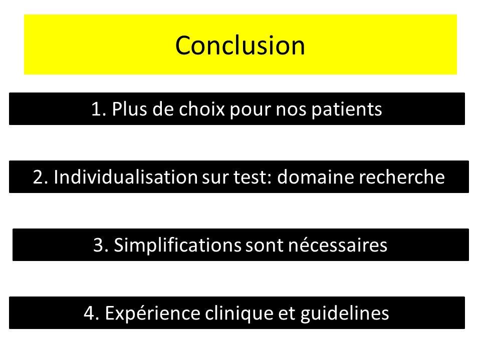 Conclusion 1. Plus de choix pour nos patients 2. Individualisation sur test: domaine recherche 3. Simplifications sont nécessaires 4. Expérience clini
