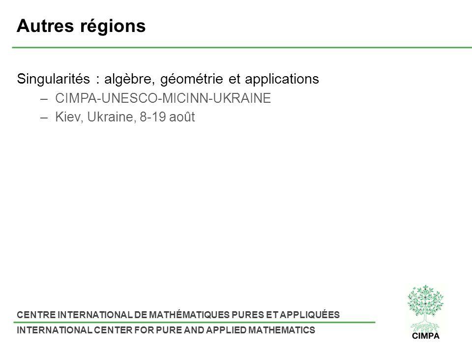 CENTRE INTERNATIONAL DE MATHÉMATIQUES PURES ET APPLIQUÉES INTERNATIONAL CENTER FOR PURE AND APPLIED MATHEMATICS Autres régions Singularités : algèbre,