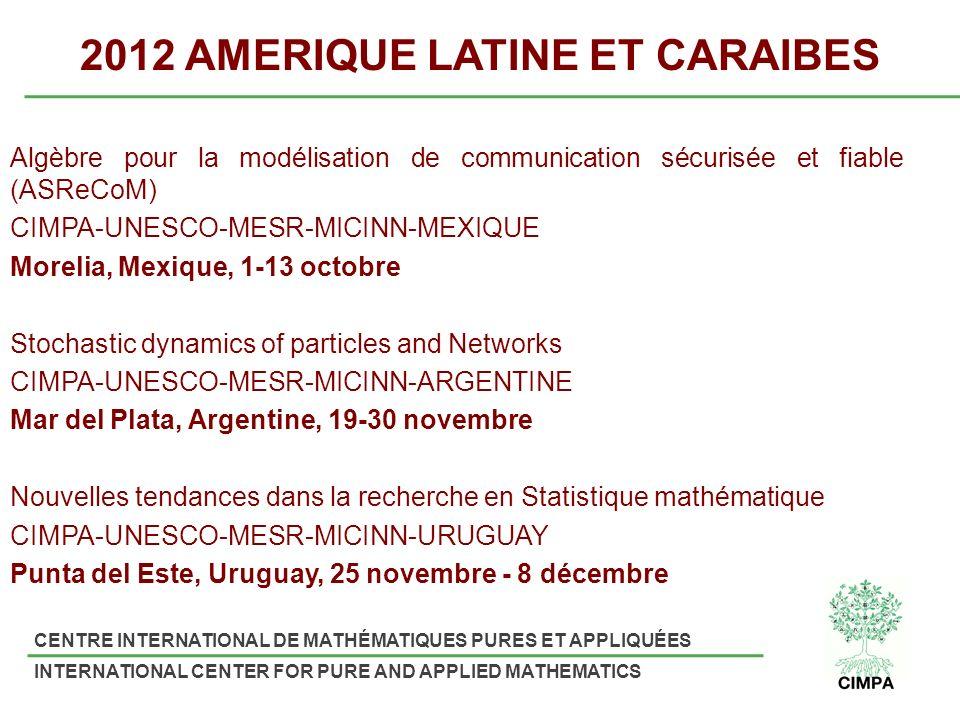 CENTRE INTERNATIONAL DE MATHÉMATIQUES PURES ET APPLIQUÉES INTERNATIONAL CENTER FOR PURE AND APPLIED MATHEMATICS 2012 AMERIQUE LATINE ET CARAIBES Algèbre pour la modélisation de communication sécurisée et fiable (ASReCoM) CIMPA-UNESCO-MESR-MICINN-MEXIQUE Morelia, Mexique, 1-13 octobre Stochastic dynamics of particles and Networks CIMPA-UNESCO-MESR-MICINN-ARGENTINE Mar del Plata, Argentine, 19-30 novembre Nouvelles tendances dans la recherche en Statistique mathématique CIMPA-UNESCO-MESR-MICINN-URUGUAY Punta del Este, Uruguay, 25 novembre - 8 décembre