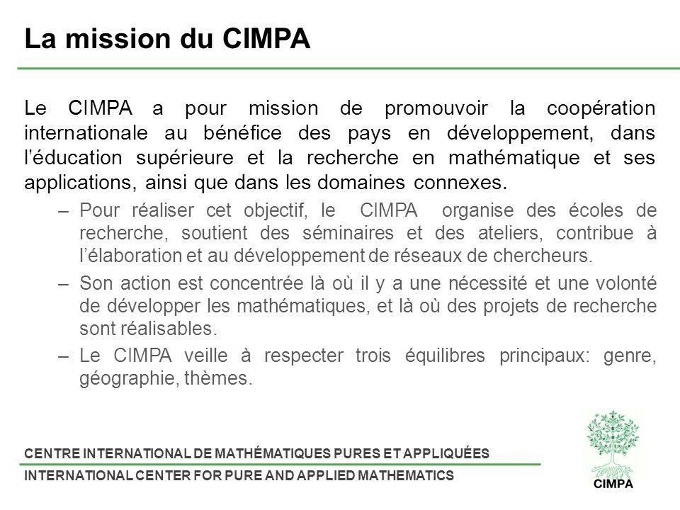 CENTRE INTERNATIONAL DE MATHÉMATIQUES PURES ET APPLIQUÉES INTERNATIONAL CENTER FOR PURE AND APPLIED MATHEMATICS Le CIMPA a pour mission de promouvoir