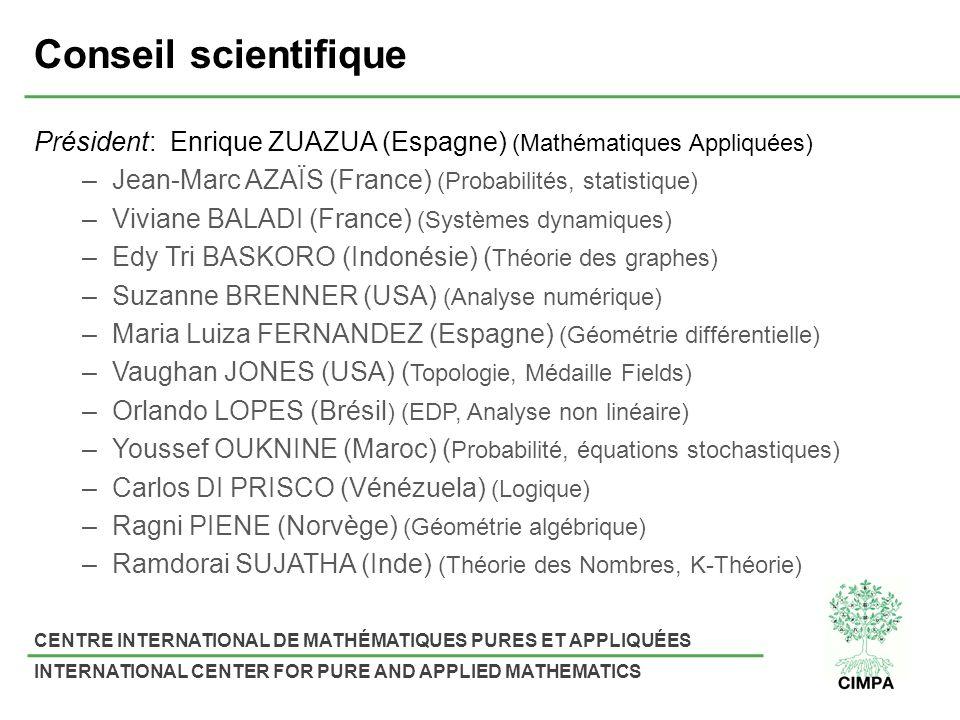 CENTRE INTERNATIONAL DE MATHÉMATIQUES PURES ET APPLIQUÉES INTERNATIONAL CENTER FOR PURE AND APPLIED MATHEMATICS Conseil scientifique Président: Enrique ZUAZUA (Espagne) (Mathématiques Appliquées) –Jean-Marc AZAÏS (France) (Probabilités, statistique) –Viviane BALADI (France) (Systèmes dynamiques) –Edy Tri BASKORO (Indonésie) ( Théorie des graphes) –Suzanne BRENNER (USA) (Analyse numérique) –Maria Luiza FERNANDEZ (Espagne) (Géométrie différentielle) –Vaughan JONES (USA) ( Topologie, Médaille Fields) –Orlando LOPES (Brésil ) (EDP, Analyse non linéaire) –Youssef OUKNINE (Maroc) ( Probabilité, équations stochastiques) –Carlos DI PRISCO (Vénézuela) (Logique) –Ragni PIENE (Norvège) (Géométrie algébrique) –Ramdorai SUJATHA (Inde) (Théorie des Nombres, K-Théorie)