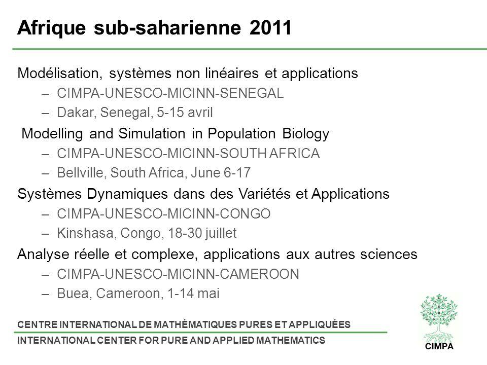 CENTRE INTERNATIONAL DE MATHÉMATIQUES PURES ET APPLIQUÉES INTERNATIONAL CENTER FOR PURE AND APPLIED MATHEMATICS Afrique sub-saharienne 2011 Modélisation, systèmes non linéaires et applications –CIMPA-UNESCO-MICINN-SENEGAL –Dakar, Senegal, 5-15 avril Modelling and Simulation in Population Biology –CIMPA-UNESCO-MICINN-SOUTH AFRICA –Bellville, South Africa, June 6-17 Systèmes Dynamiques dans des Variétés et Applications –CIMPA-UNESCO-MICINN-CONGO –Kinshasa, Congo, 18-30 juillet Analyse réelle et complexe, applications aux autres sciences –CIMPA-UNESCO-MICINN-CAMEROON –Buea, Cameroon, 1-14 mai