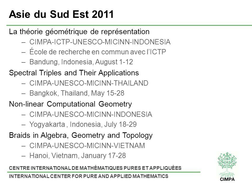 CENTRE INTERNATIONAL DE MATHÉMATIQUES PURES ET APPLIQUÉES INTERNATIONAL CENTER FOR PURE AND APPLIED MATHEMATICS Asie du Sud Est 2011 La théorie géométrique de représentation –CIMPA-ICTP-UNESCO-MICINN-INDONESIA –École de recherche en commun avec lICTP –Bandung, Indonesia, August 1-12 Spectral Triples and Their Applications –CIMPA-UNESCO-MICINN-THAILAND –Bangkok, Thailand, May 15-28 Non-linear Computational Geometry –CIMPA-UNESCO-MICINN-INDONESIA –Yogyakarta, Indonesia, July 18-29 Braids in Algebra, Geometry and Topology –CIMPA-UNESCO-MICINN-VIETNAM –Hanoi, Vietnam, January 17-28
