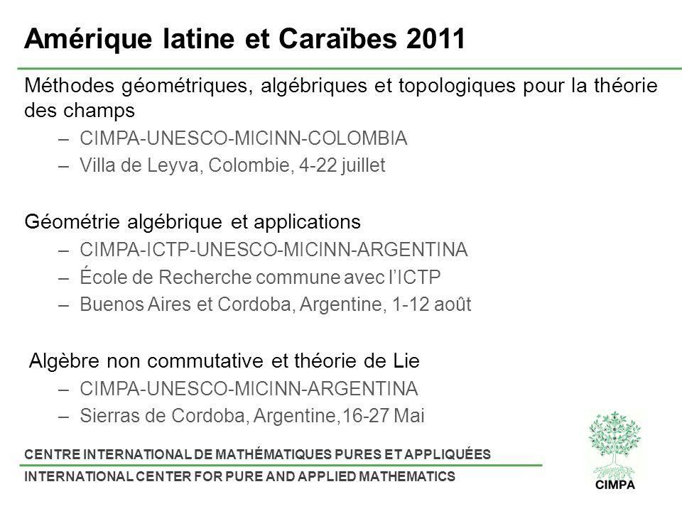 CENTRE INTERNATIONAL DE MATHÉMATIQUES PURES ET APPLIQUÉES INTERNATIONAL CENTER FOR PURE AND APPLIED MATHEMATICS Amérique latine et Caraïbes 2011 Métho