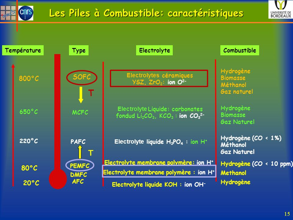 Les Piles à Combustible: caractéristiques 15 PEMFC PAFC MCFC SOFC 80°C 220°C 650°C 800°C Electrolyte membrane polymère: ion H + Electrolyte l iquide H