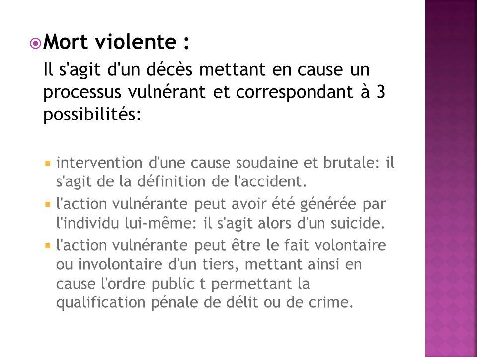 Mort violente : Il s'agit d'un décès mettant en cause un processus vulnérant et correspondant à 3 possibilités: intervention d'une cause soudaine et b
